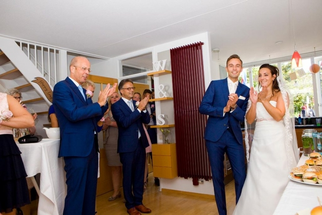 Bruidspaar bruiloft Raadhuis Leidschendam en Witte Paard Nootdorp