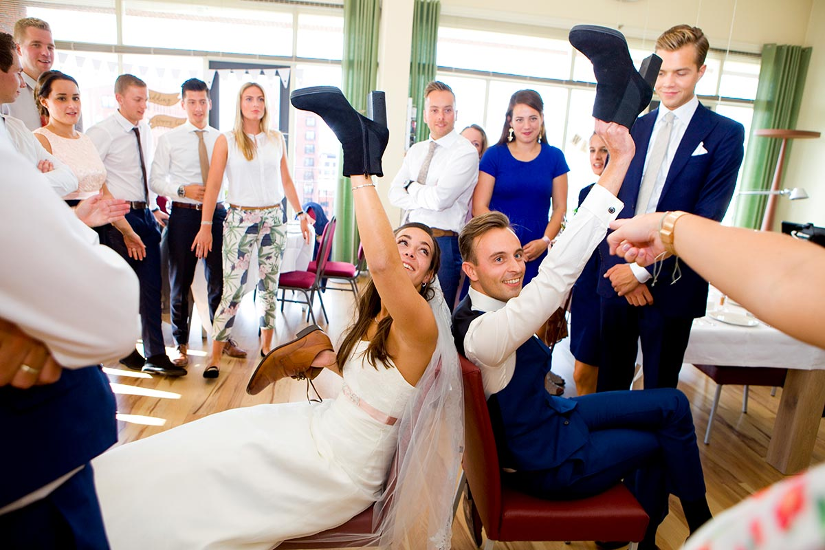 Spelletje bruidspaar bruiloft Raadhuis Leidschendam en Witte Paard Nootdorp